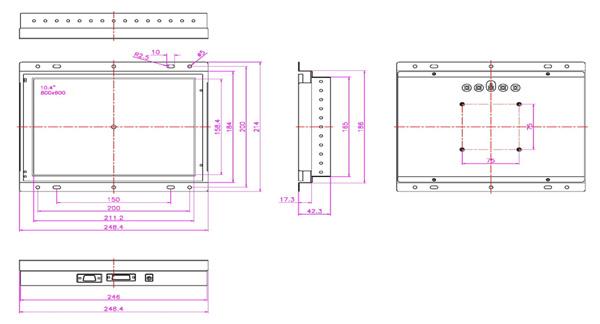 液晶モニター(オープンフレーム、通常輝度) 10.4インチ VL-1040LO図面