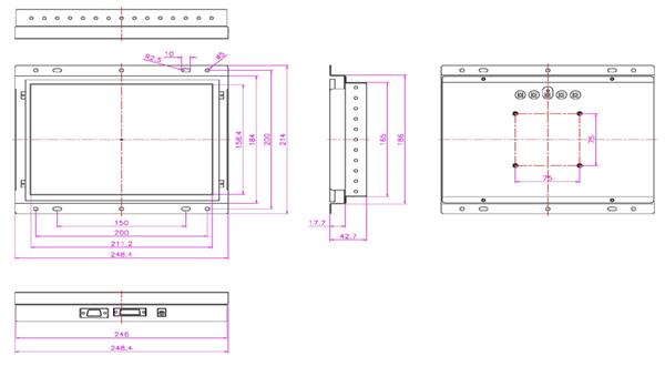 液晶モニター(オープンフレーム、通常輝度) 10.4 インチ VL-1041LO図面