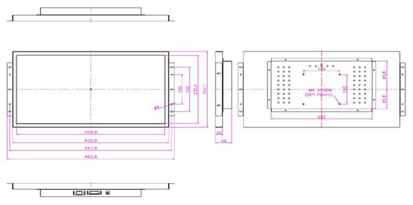 液晶モニター(オープンフレーム、通常輝度) 18.5インチワイド VL-W1850LO図面