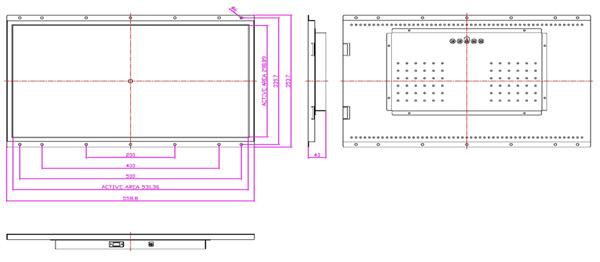 液晶モニター(オープンフレーム、通常輝度) 24インチワイド VL-W2400LO図面