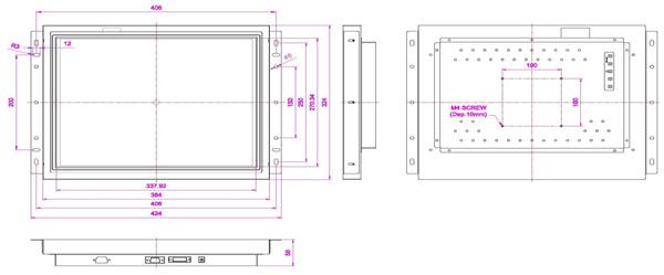液晶モニター(オープンフレーム、通常輝度) 17インチ VL-1700O図面