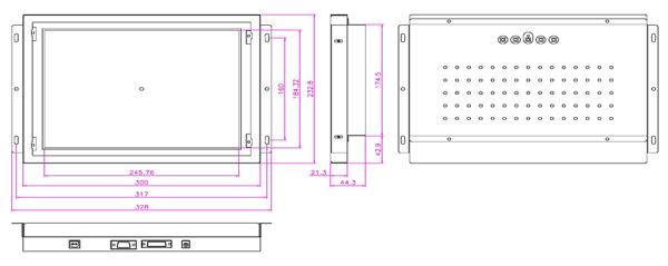 液晶モニター(オープンフレーム、通常輝度) 12.1インチ VL-1210LO図面