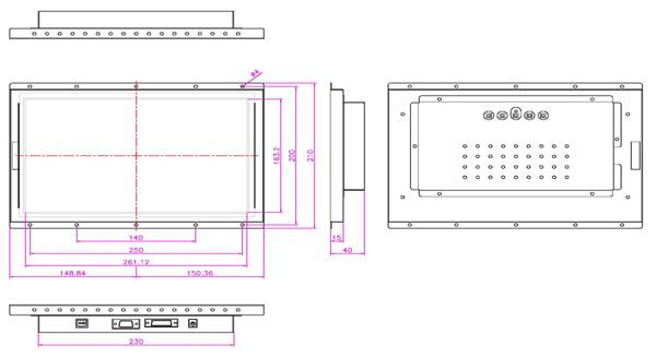 液晶モニター(オープンフレーム、通常輝度) 12.1インチワイド VL-W1210LO図面