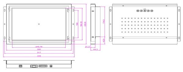液晶モニター(オープンフレーム、通常輝度) 12.1インチ VL-1211LO図面
