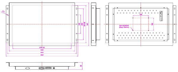 液晶モニター(オープンフレーム、通常輝度) 19インチ VL-1900O図面