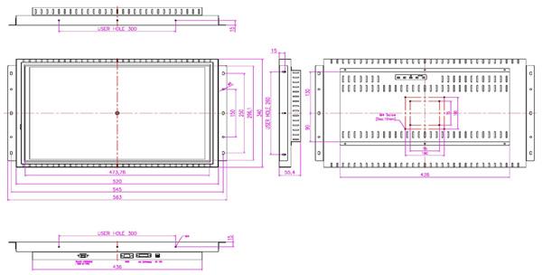 液晶モニター(オープンフレーム、通常輝度) 22インチワイド VL-W2201O図面