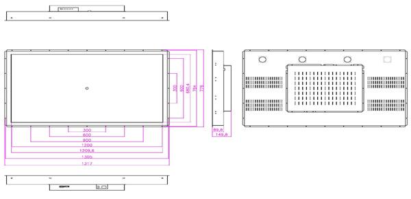 液晶モニター(オープンフレーム、通常輝度) 55インチワイド VL-W5510LO図面