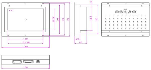 液晶モニター(オープンフレーム、通常輝度) VL-0650LO 図面