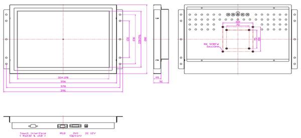液晶モニター(オープンフレーム、通常輝度) 15インチ VL-1501LO図面