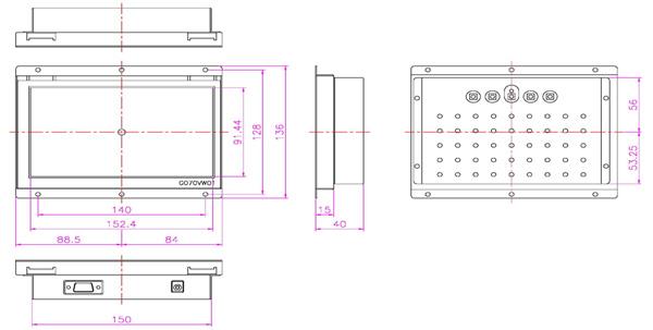 液晶モニター(オープンフレーム、通常輝度) 7インチワイド VL-W0700LO図面