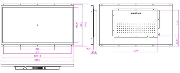液晶モニター(オープンフレーム、通常輝度) 23インチワイド VL-W2380LO図面