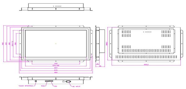 液晶モニター(オープンフレーム、通常輝度) 26インチワイド VL-W2600LO図面