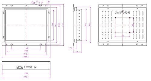 液晶モニター高輝度半透過型(オープンフレーム)組み込み用15インチ 図面
