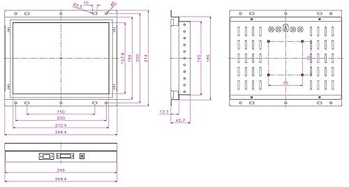 液晶モニター高輝度半透過型(オープンフレーム)組み込み用10.4インチ図面