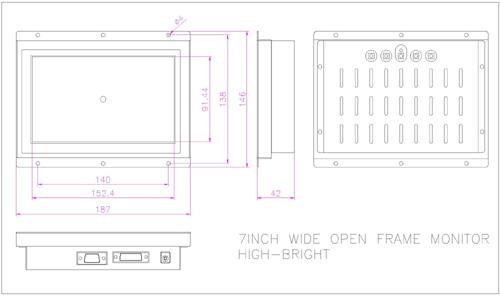 液晶モニター高輝度半透過型(オープンフレーム)組み込み用7インチ 図面