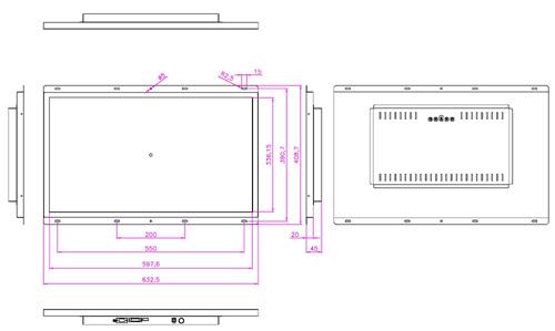液晶モニター高輝度半透過型(オープンフレーム)組み込み用27インチワイド 左:通常輝度 右:弊社高輝度